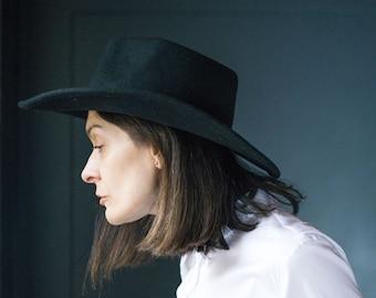 c143c6ae Black Fedora Wide Brim Unisex Hat Felt Size 57. Vintage Classic fedora  braided ribbon. Wool Fedora Tomboy Gift Fashion Hat. Wool Hat 90s