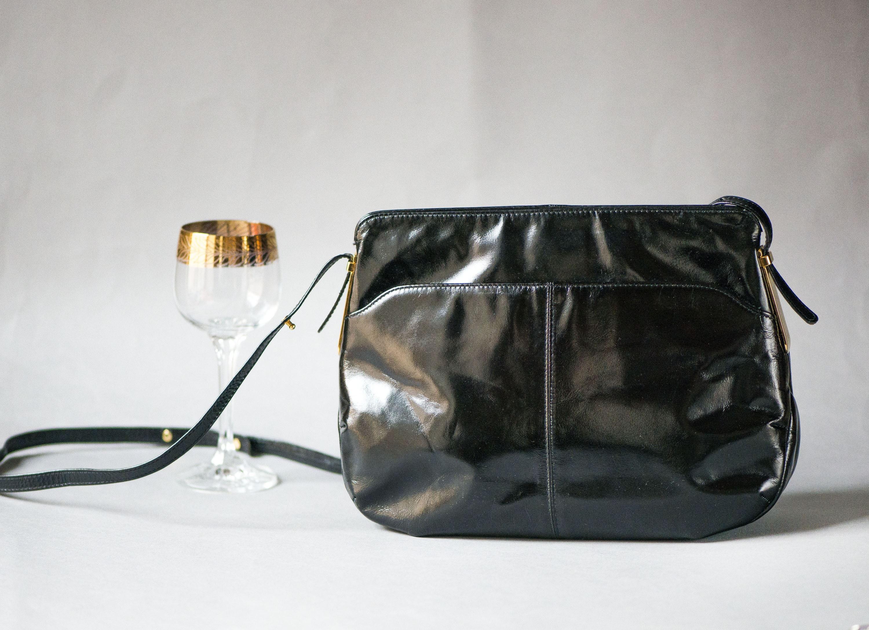 New Ex Dorothy Perkins Dark Navy Patent Structured Strap Evening Clutch Bag BNWT