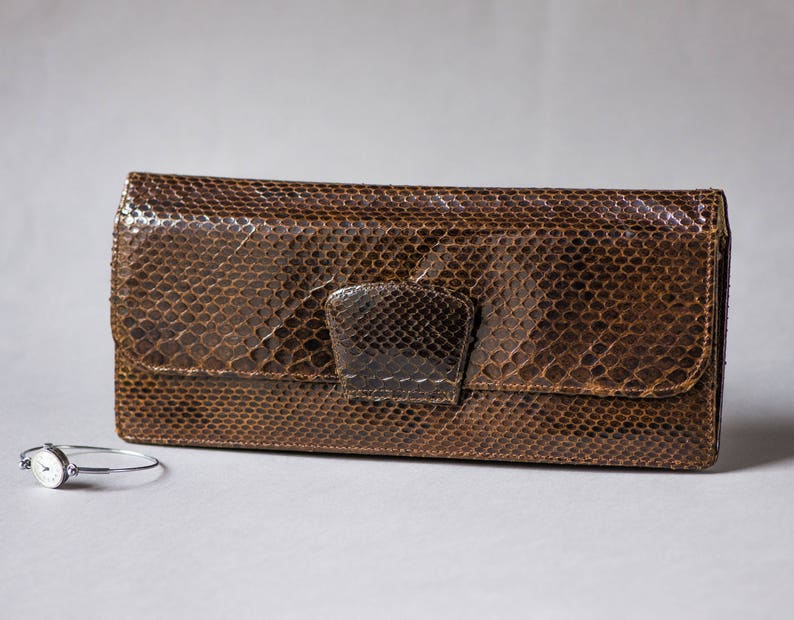 0c7839a413f5 Vintage Lizard Skin Leather Formal Clutch Purse. Dark Brown Evening Pouch  Envelope. Lizard Clutch Bag Retro. Minimal Phone leather case
