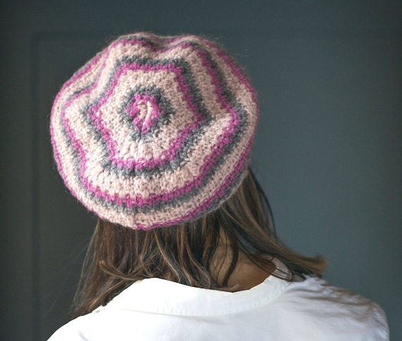 Vintage French Style Beret Pink Rose Grey. Wool an
