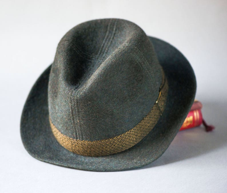 05a57abe705 Dark brown grey unisex Trilby Hat 1960s. Tomboy felt fedora