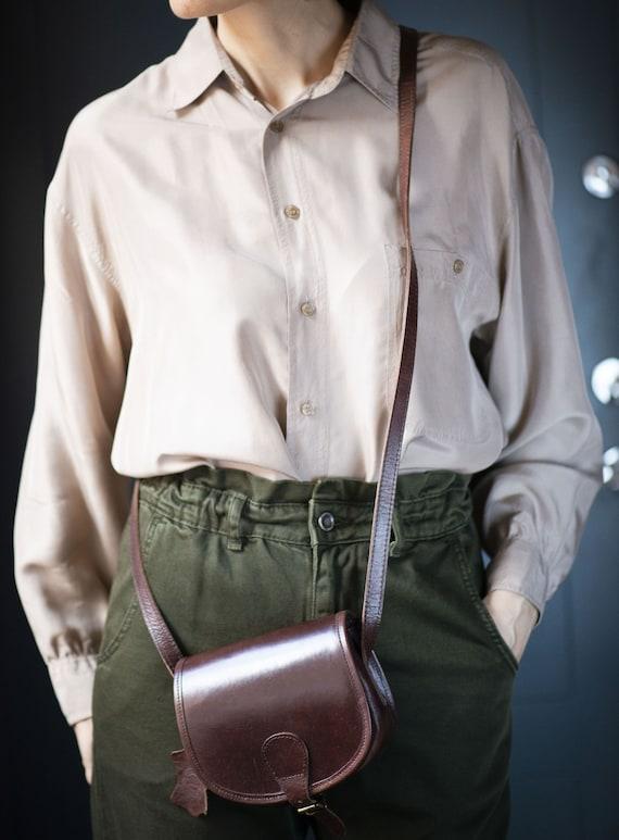 Simple Genuine leather Shoulder bag Festival Bag Girls Bag Preppy Vintage Women Crossbody Bag Minimalist Sturdy Leather Saddle Bag Black