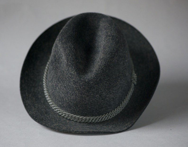 5a1ad706f58 Vintage Dark Grey Fedora. Unisex wool hat raw brim. Men s felt wool ...