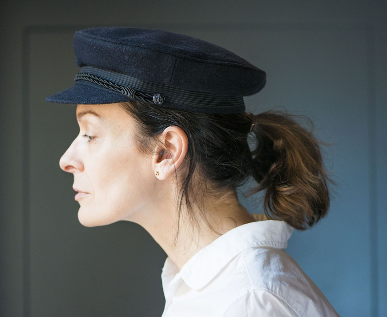 Navy Wool Fisherman Hat Vintage Size 54. Flat Sailor Hat  31ae8d204b56