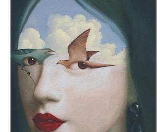 Surreal Painting Art Print Birds Portrait