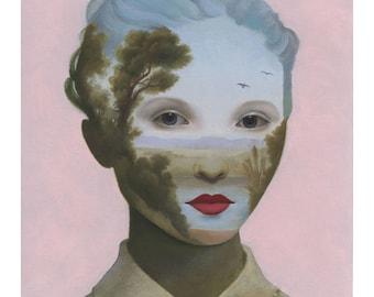 Surreal Landscape Portrait Painting Giclee Print