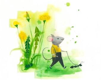 Cute Animal Print. Mouse on a Walk. Playful Illustration. Kids Print. Limited Edition Fine Art Giclee Print.