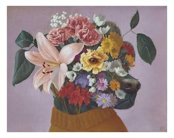 Surreal Dog Oil Painting Print -- Gardenhound