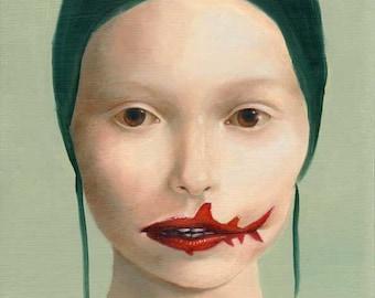 Surreal Painting Fine Art Print -- Shark Bites Giclee Print (limited edition)