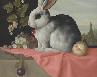 Surreal Bunny Rabbit Still Life Giclee Print
