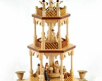vintage german erzgebirge christmas nativity pyramid carrousel 3 tier - German Christmas Pyramid Kit