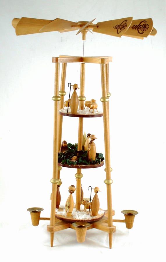 Vintage German Erzgebirge Christmas Nativity Pyramid Carrousel - 3 Tier