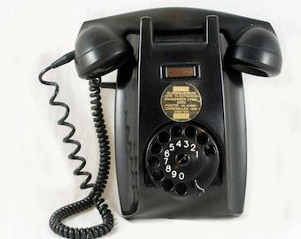 Vintage Dutch bakelite wall telephone PTT Ericsson 1950s