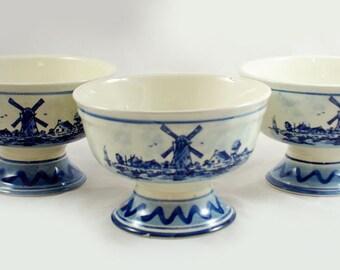 Vintage set of three  Dutch Delft Blue bowls