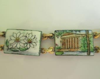 Vintage Travellers Bracelet. Enamel Bracelet. Mid Century Panel Bracelet.