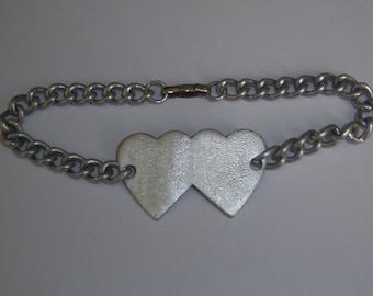 Heart Bracelet. Mid Century Aluminum Double Heart Bracellet Stamped JAPAN.