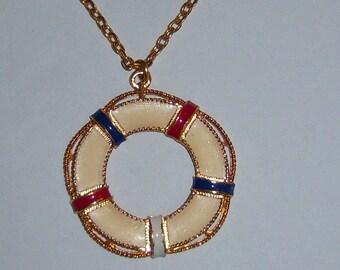 Coro Life Preserver Necklace. Coro Life Buoy Necklace.
