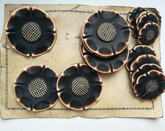 Set of Art Deco vintage buttons, bakelite, 1930s