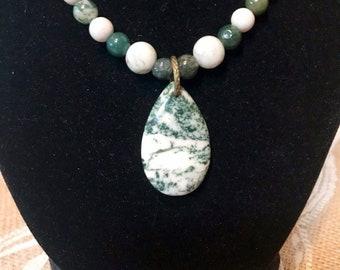 Genuine Fancy Jasper Tree Agate Feldspar Beads Necklace Set