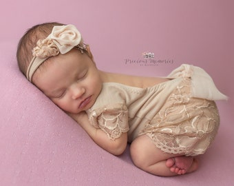 b7aa287b73f4 Newborn photo outfit girl lace romper set, newborn girl props khaki nude  lace photo outfit baby girl open back romper newborn photography