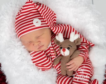 Newborn Baby Crown Hat Christmas  Photo Prop Outfit Christmas Photoshoot Hat