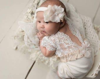 38b206bee559 Newborn photo outfit girl lace romper set, newborn girl white mint red lace  photo outfit baby girl open back romper newborn photography