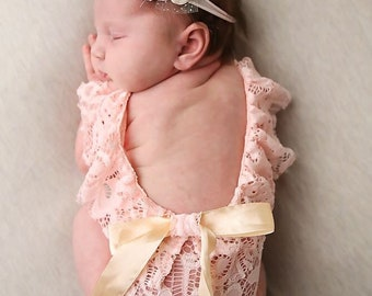 20100d0cf021 Newborn girl photo outfit, lace romper set, newborn girl props dusty pink  lace photo outfit baby girl open back romper newborn photography