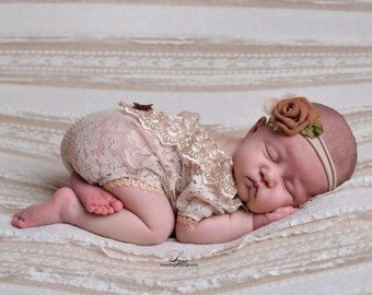 b34930ab3fbe Newborn girl photo props photo outfit lace romper set
