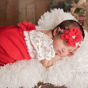 Christmas photo outfit cream white red photo outfit baby girl open back short sleeve romper Newborn girl Christmas props lace romper set