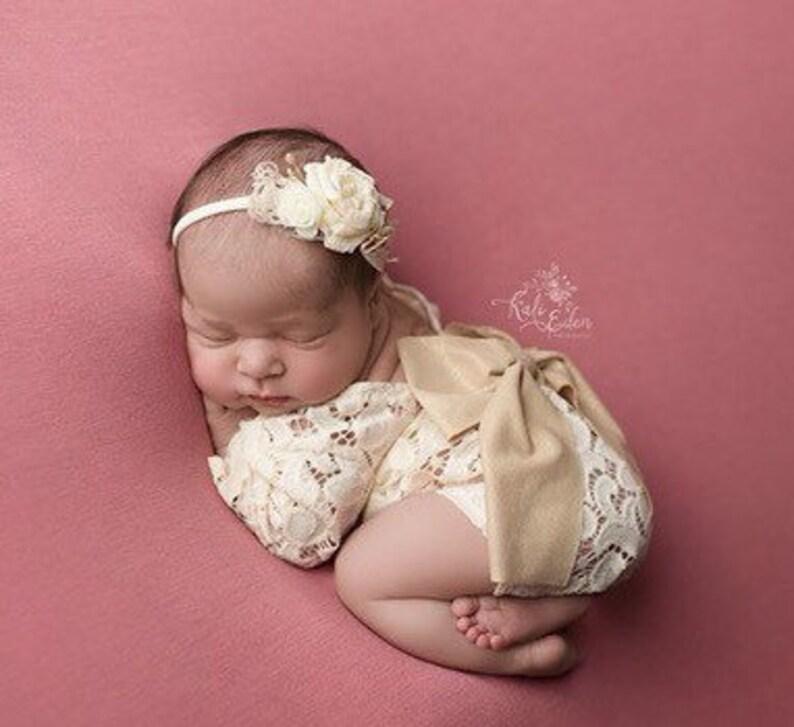 874dd377f6cc Newborn girl photo outfit lace romper set newborn photo props | Etsy