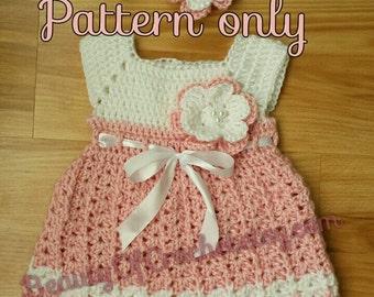 Flower power dress 0-6 months. Crochet baby girl newborn dress and headband. Digital pattern.