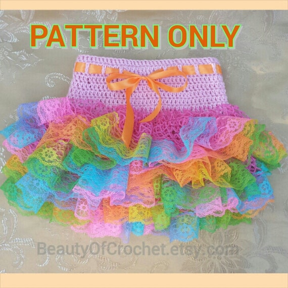 Crochet baby toddler ruffle skirt little girl tutu lace