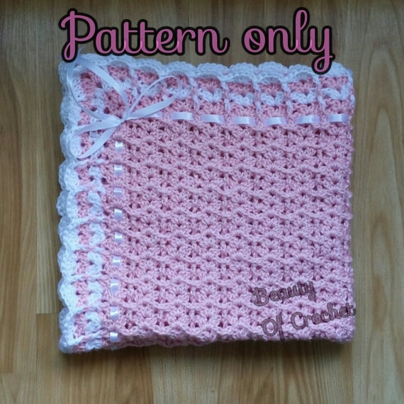 Baby Blanket Pattern With A Shelly Edging Baby Blanket Etsy