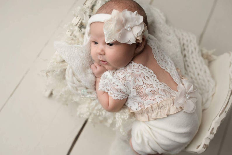 933ab83e97b2 Newborn photo outfit girl lace romper set newborn girl white | Etsy