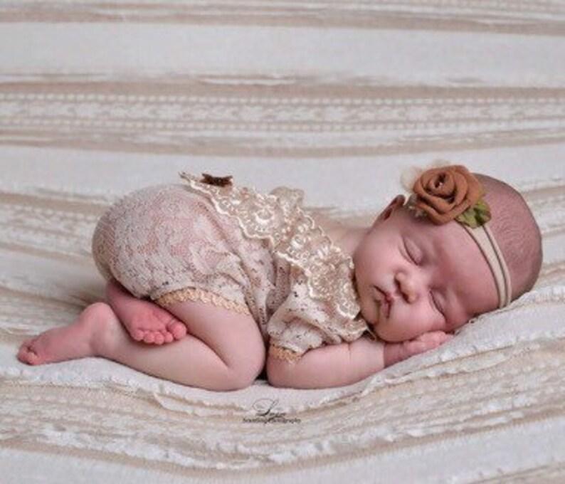 4a08b765354 Newborn girl photo props photo outfit lace romper set newborn