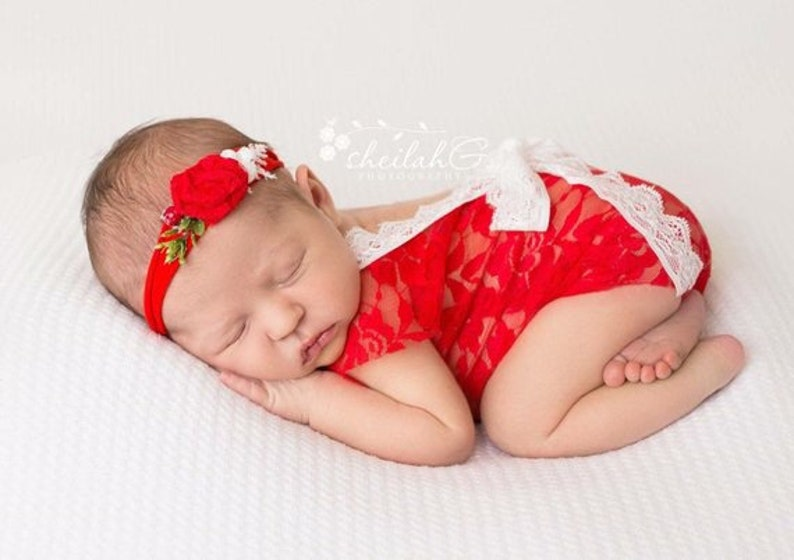 Newborn Christmas Outfit Girl.Newborn Christmas Outfit Girl Photo Outfit Red Lace Bodysuit Photo Props Red Lace Romper Baby Photography Lace Photo Outfit Baby Girl Low Ba