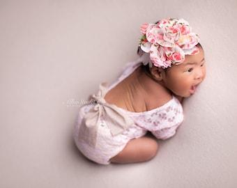 Newborn girl lace romper set, newborn girl cream photo outfit baby girl open back long sleeve  romper props newborn photography prop