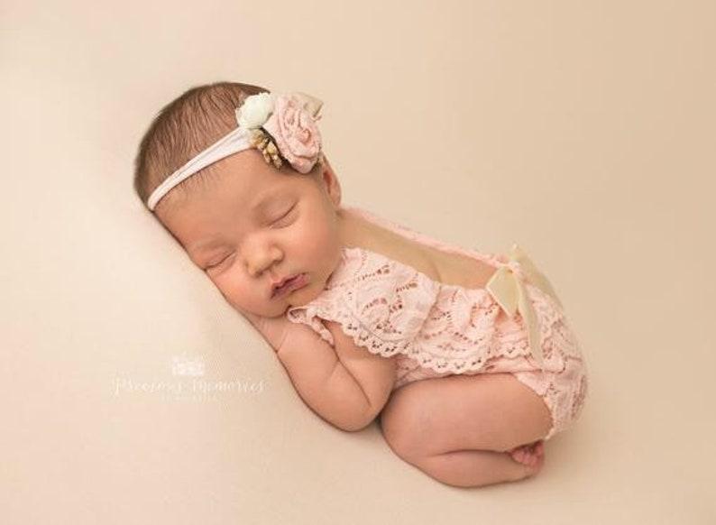 a5ca81680f6d Newborn photo outfit girl lace romper set newborn girl pink | Etsy