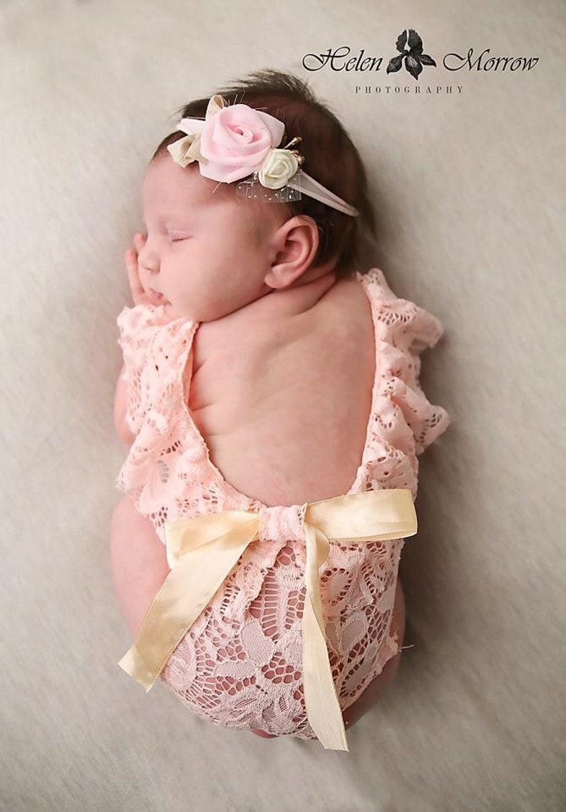 407f618f1e5 Newborn photo outfit girl lace romper set newborn girl dusty