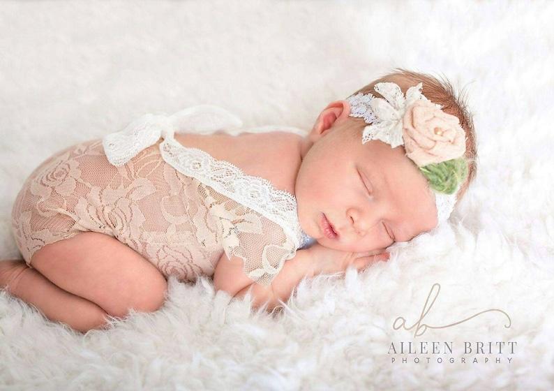29f85641b0c Newborn girl lace romper set baby girl photo outfit mocha