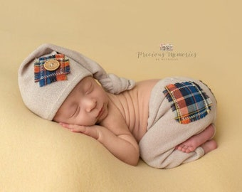 Baby photo outfit boy, baby boy photo shoot, photo shoot boy, pants and sleeping hat, Beige navy brown green, newborn boy pictures portrait