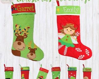 monogrammed kids christmas stockings personalized family stockings - Christmas Stockings For Kids