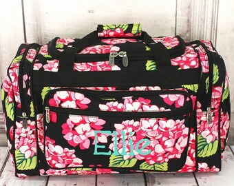 71879e095af Monogrammed Duffel Bag, Girls Duffel Bag, Monogram Duffel Bag, Duffel Bag, Floral  Duffel Bag, School Bag, Personalized, Duffel, Travel Bag