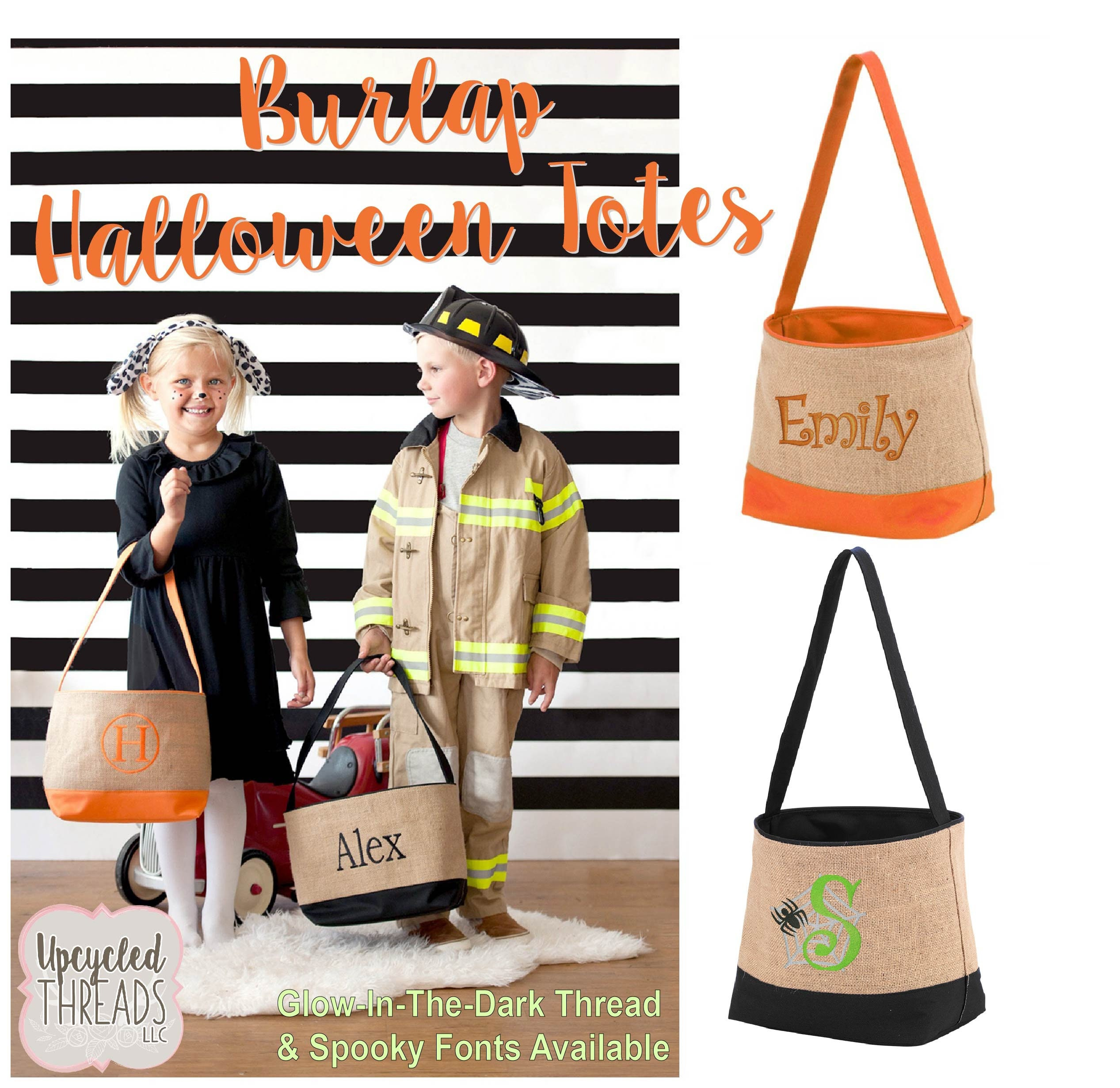 personalized halloween bags trick or treat bags monogrammed