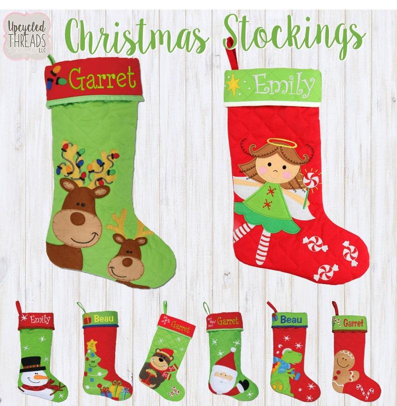 Monogrammed Kids Christmas Stockings Personalized Family Stockings Personalized Christmas Stocking Christmas Stockings Kids Stocking