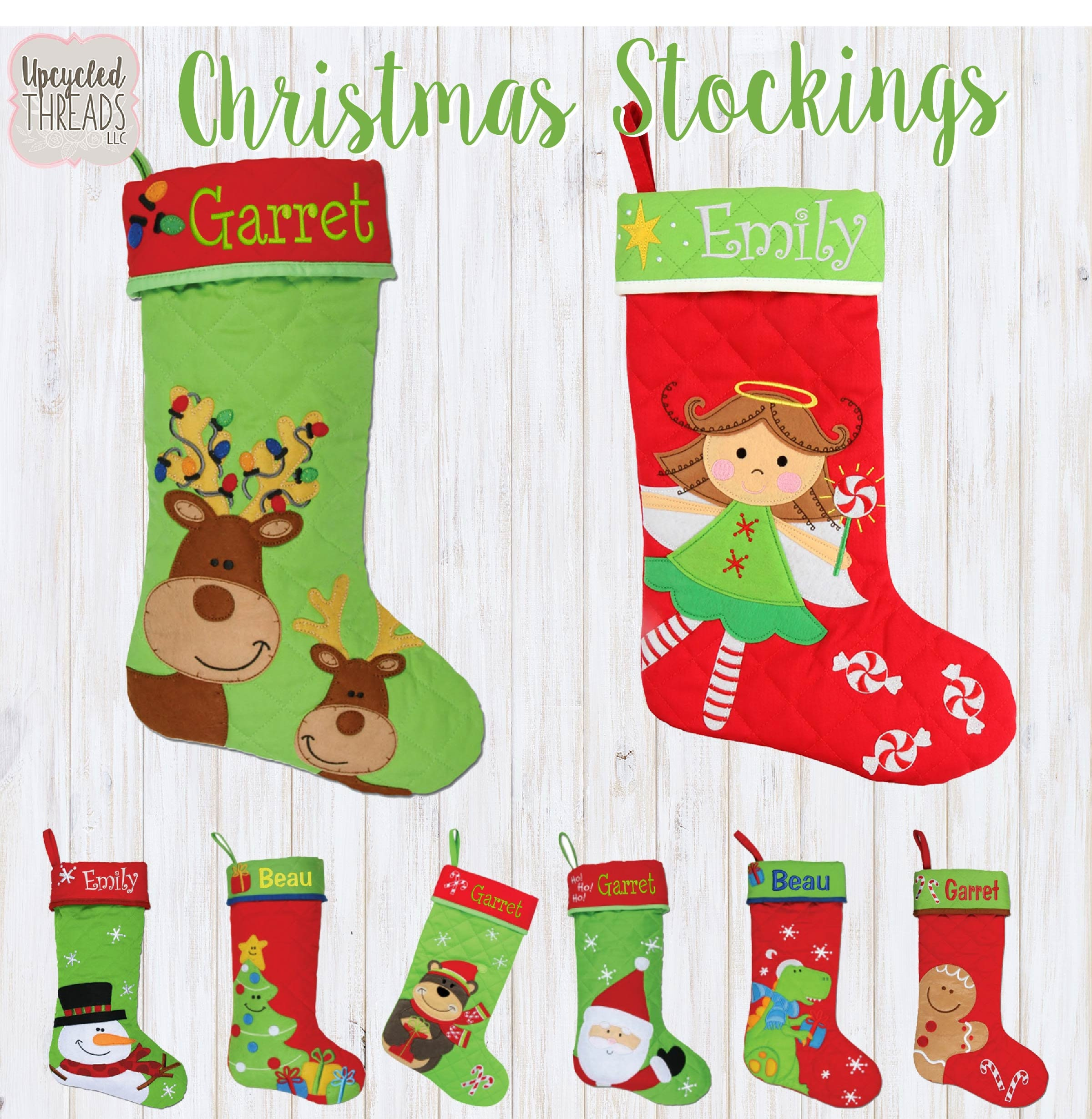 Monogrammed Kids Christmas Stockings, Personalized Family Stockings