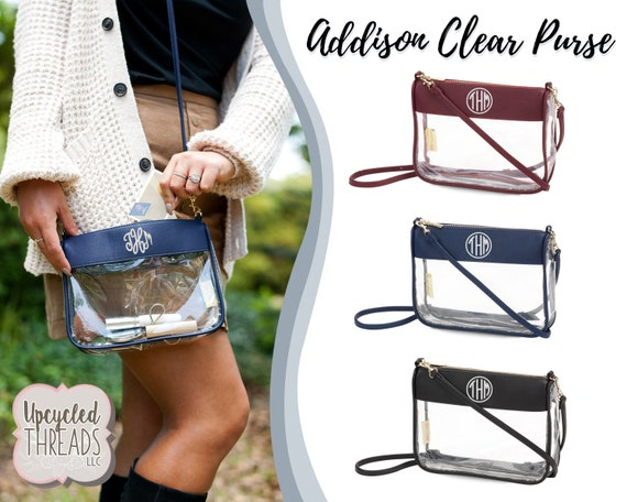 Embroidered Clear Bag Monogram Stadium Bags Clear Game Day Purse Approved