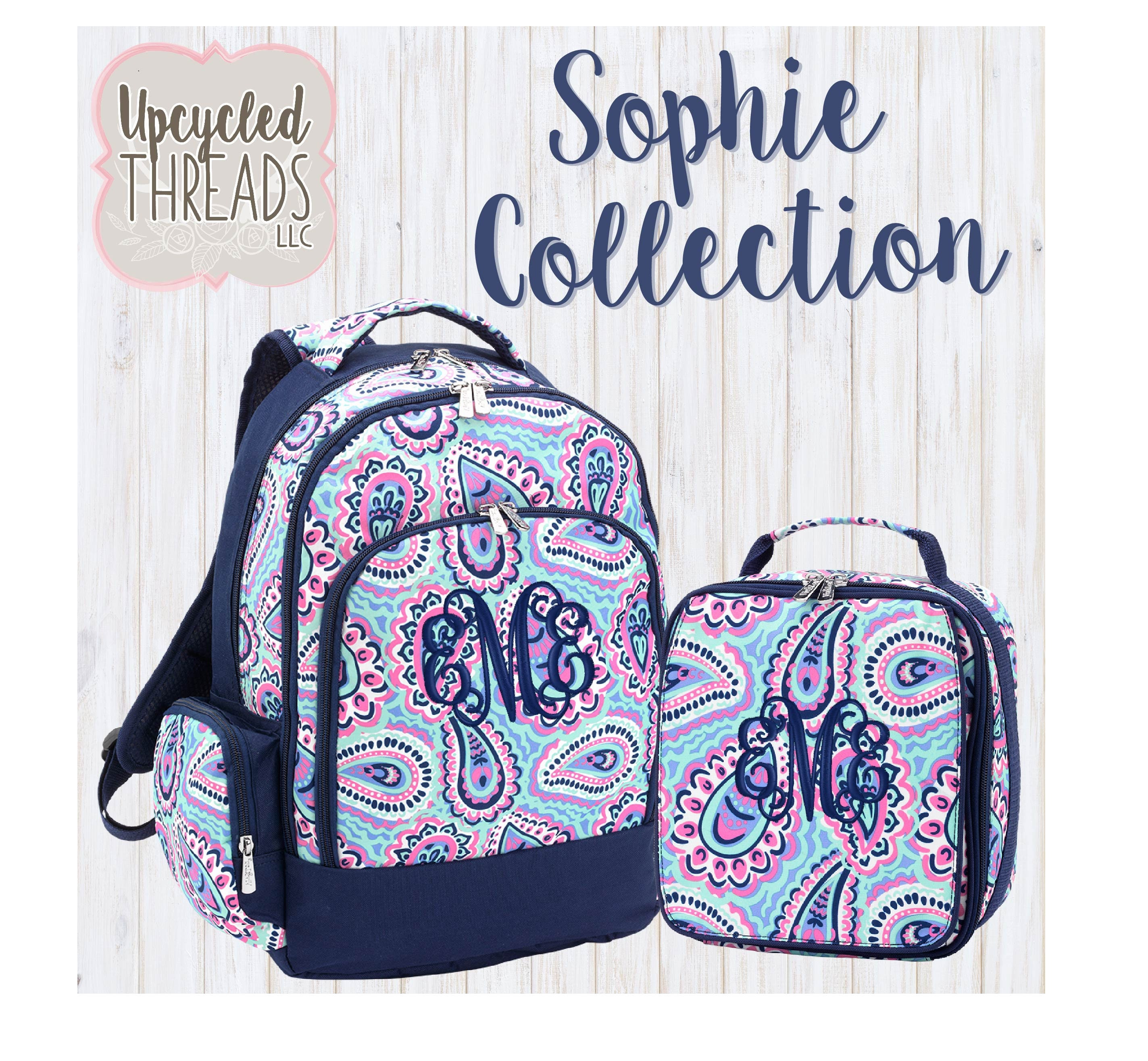 3e5605d785f Girls Monogrammed Backpack Set, Personalized Paisley Backpack ...