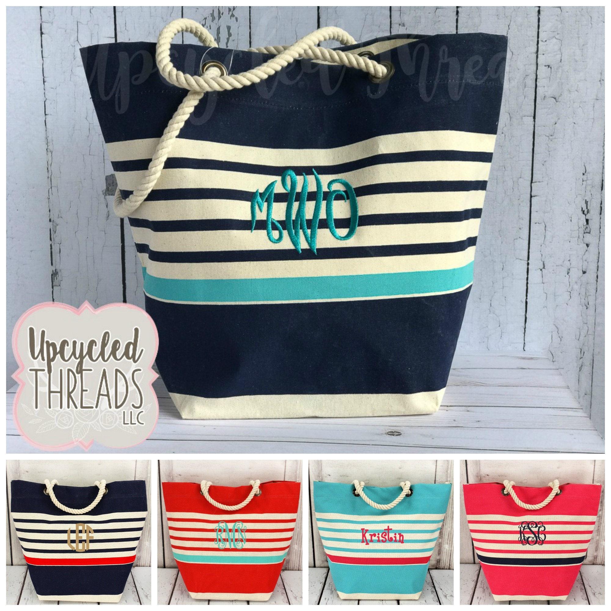 monogrammed beach bag personalized beach bag monogram tote