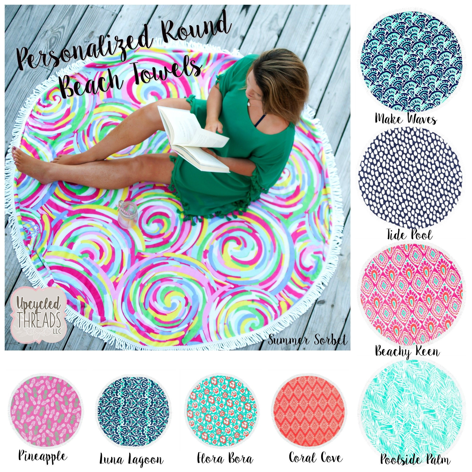 Monogrammed Circle Beach Towel Personalized Circle Beach Towel